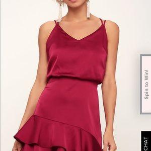 On the Floor Fuchsia Satin Ruffle Dress